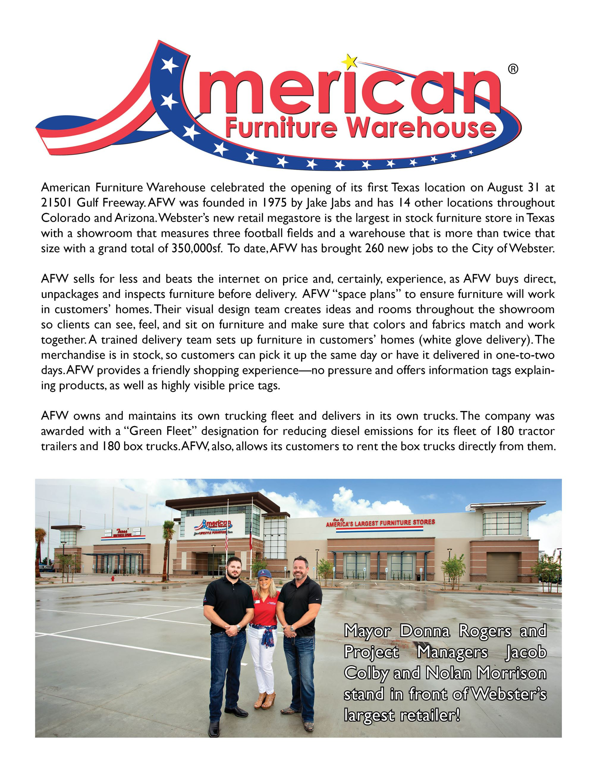American Furniture Warehouse Business Update
