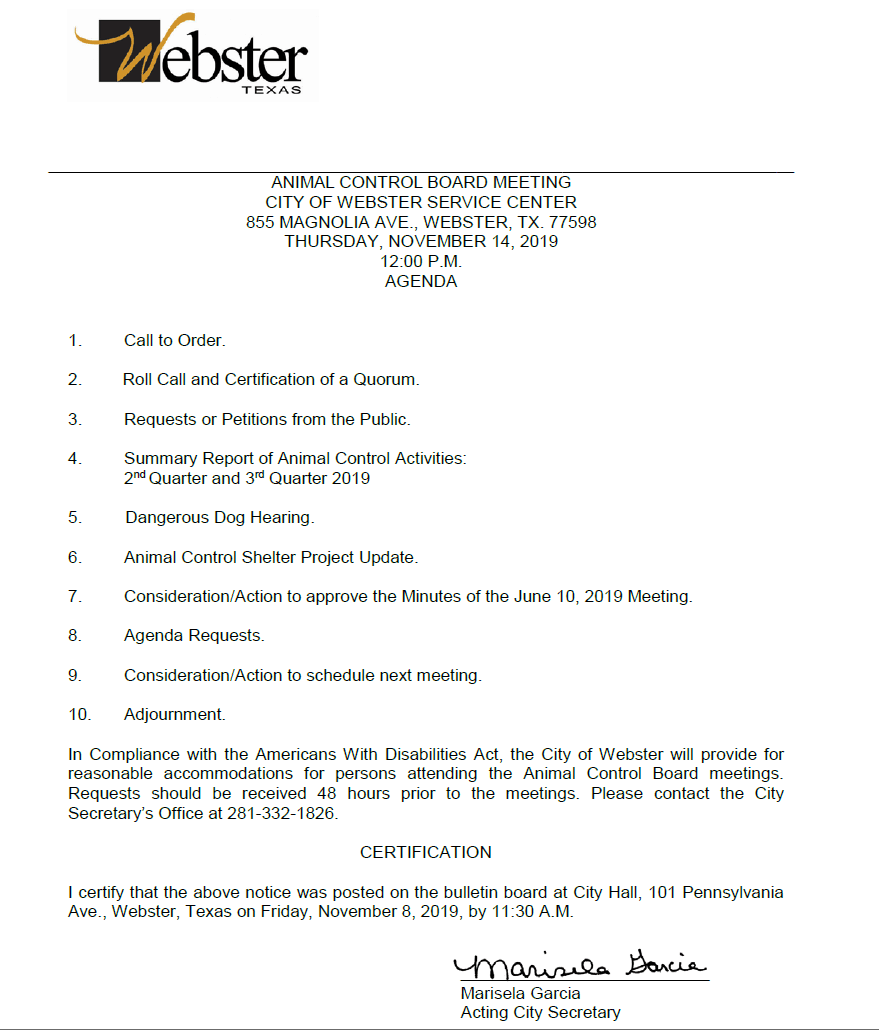 Animal Control Board meeting