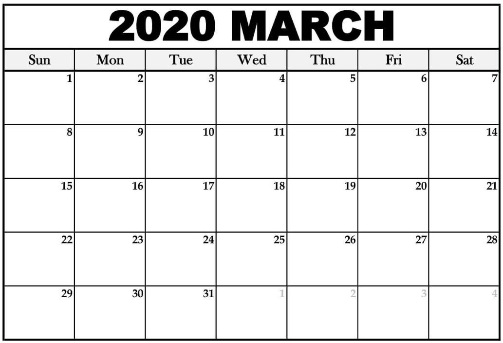 2020 March Cal