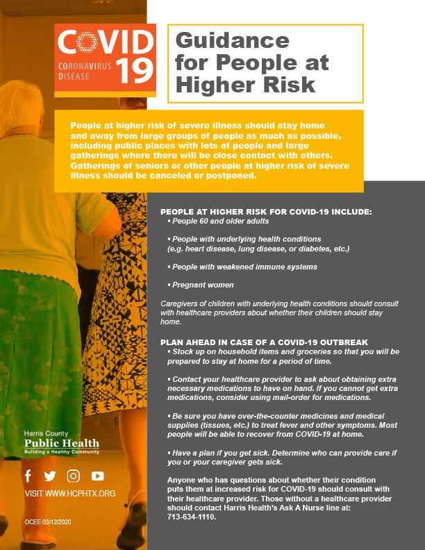 Guidance for People at Higher Risk