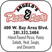 Angelos pizza and pasta, 400 West Bay Area Blvd., 281-332-2404