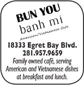 Bun You Bahn Mi, 18333 Egret Bay Blvd., 281-957-9656