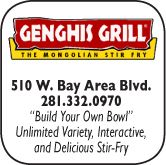 Genghis Grill, 510 West Bay Area Blvd., 281-332-0970