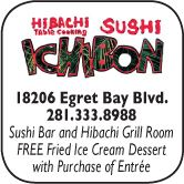Ichibon Japanese Seafood & Steakhouse, 18206 Egret Bay Blvd., 281-333-8988