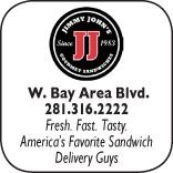 Jimmy Johns Gourmet Sandwiches, 400 West Bay Area Blvd., 281-316-2222