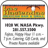 Las Haciendas Mexican Bar & Grill, 1020 W NASA Parkway, 281-557-3500