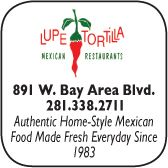 Lupe Tortilla, Mexican Restaurant, 891 West Bay Area Blvd., 281-338-2711