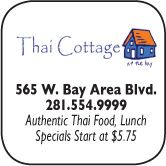 Thai Cottage. 565  West Bay Area Blvd, 281-554-9999