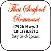 thai seafood, 17926 Highwya 3, 281-338-8712