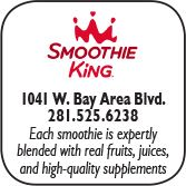 Smoothie King, 1041  West Bay Area Blvd, 281-525-6238