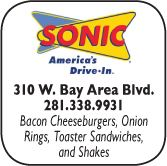 Sonic Drive-in, 310  West Bay Area Blvd, 281-338-9931
