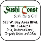 Sushi Coast, 528 W. Bay Area Blvd., 281 554-6245