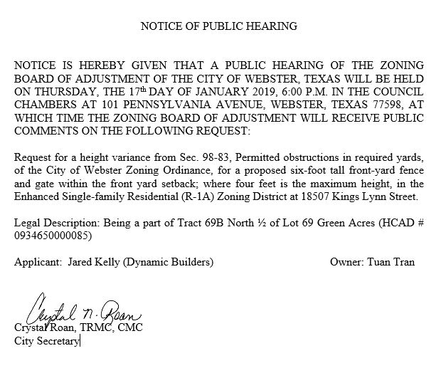 Notice of Public Hearing of ZBA Jan. 17, 2018.JPG